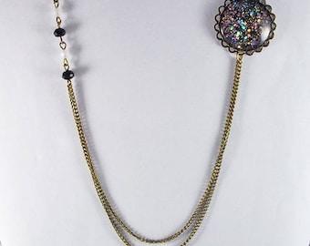Retro bronze asymmetrical necklace, black glitter cabochon