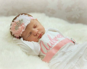 Baby Girl Clothes Personalized Newborn Girl Take Home Outfit Personalized Layette Gown & Shabby Chic Tiara Headband New Baby Gift Set