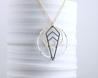 Geometric Mixed Metal Necklace Layering Necklace Silver Black Gold Drop Chevron Necklace Long Necklace Gift for Her Mixed Metal Jewelry