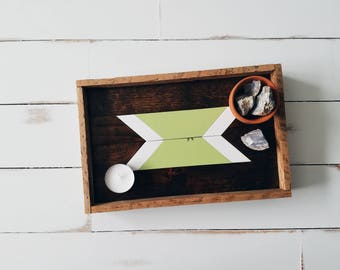 Reclaimed wood tray; serving tray, decorative tray, wood tray, vanity tray, wooden tray, jewelry display, tray for ottoman, arrow wall decor