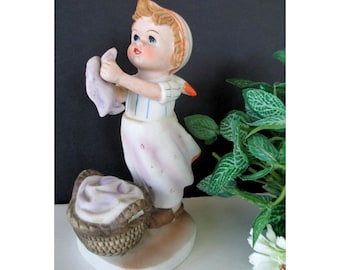 Laundry Figurine * WASH DAY * Young Girl Hanging The Wash * Vintage Figurine