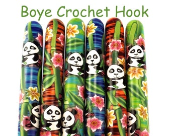 Crochet Hook, Boye Polymer Clay Covered Crochet Hooks, Custom Crochet Needle, Panda