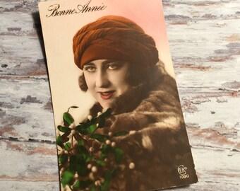 Vintage Postcard, Vintage French Postcard, Sweetheart Postcard, French Vintage Postcards, Woman Postcard, Women Romance Postcard