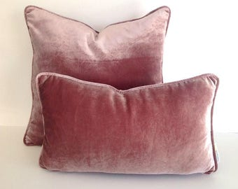 Dusty Rose Throw Velvet Pillow Cover, Dusty Pink Cushion Cover, Free Shipping