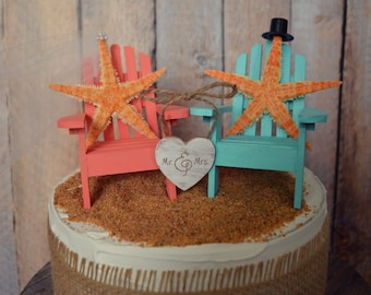 Starfish-wedding cake topper-Adirondack chairs-wood chairs-beach wedding-Mr. and Mrs.-bride-groom-beach-destination-nautical-wedding-custom