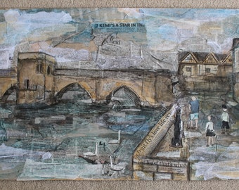 Mixed Media Painting St Ives Bridge Original