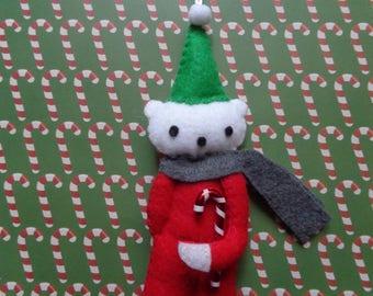 Mr. Tim Felt Christmas Bear Ornament by Pepperland