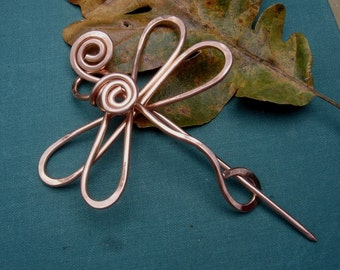 Dragonfly Copper Shawl Pin, Scarf Pin, Sweater Fastener, Dragonfly Brooch, Closure Gift for Her Women Knitting Accessories Dragonfly Jewelry