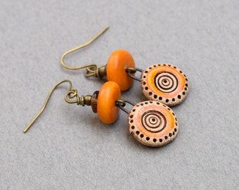 Handmade Orange Ceramic Earrings, Orange Earrings, Rustic Earrings, Boho Earrings, Artisan Earrings, Small Earrings, Round Earrings E050