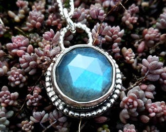 Beautiful round faceted Labrodite pendant