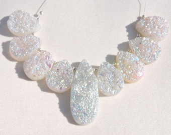 9 Pcs Very Attractive Natural White Color Sparkling Titanium Coated Pear Shape Druzy Beads Size 22X17-42X17 MM