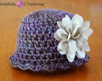 Newborn Wool Beanie... Flower hair clip... Photography Prop... Ready To Ship... OOAK