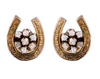 14 KT. Rose and Green Gold & Diamond Lucky Horseshoe Earrings