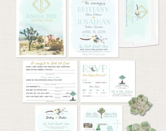 Joshua Tree Bohemian Destination wedding invitation Modern Retro Desert cacti illustrated wedding invitation Suite Deposit Payment