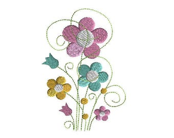 Spring Stems Machine Embroidery Design-INSTANT DOWNLOAD