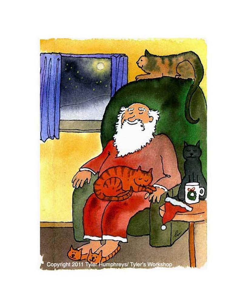 Cats christmas greeting card cat art santa clause and cats zoom kristyandbryce Choice Image