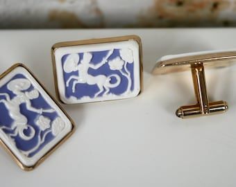Cuff Links and Tie Clip Set Blue White Centaur Sagittarius Cameo