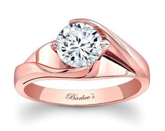 Barkevs Rose Gold Diamond Solitaire Engagement Ring, ForeverOne Moissanite Engagement, Avail with Diamond or Moissanite Center , 7802LP