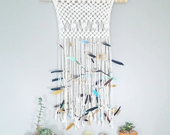 Mermaid Feather Macrame Curtain- Modern Macrame- Wall Accent Bohemian Decor- Feather Wall Hanging- Boho Decor- Hippie Decor- BohoChic- Birch