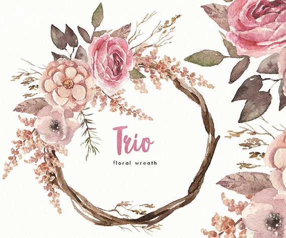 Watercolor Flower Wreath Trio Hand Painted Wedding