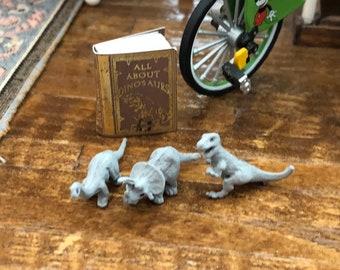 Miniature Dinosaurs, Toy Dinosaur Set, Mini Dinosaur Figurines, Set of 3, Dollhouse Miniatures, 1:12 Scale, Dollhouse Accessory, Decor