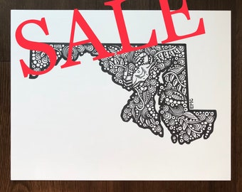 CLEARANCE, On Sale, Maryland Drawing, Maryland Blue Crab, Maryland State, Maryland Illustration, Floral Maryland Drawing
