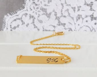 Gold Bar Name Necklace, Personalized Bar Necklace, Hand Stamped Custom Name Bar Necklace, Name Necklace, Gift for Her, Bridesmaids Gift,