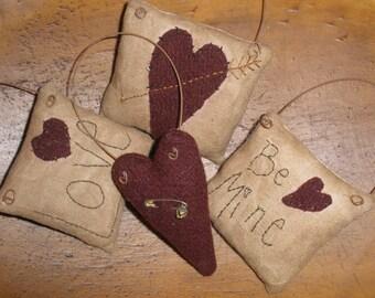 E-Pattern Primitive Valentine Ornaments Sewing Pattern Bowl Fillers