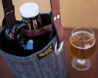 Growler Holder, Growler Insulated Bag, Growler Carrier with Leather Handle, Beer Bag, Beer Holder