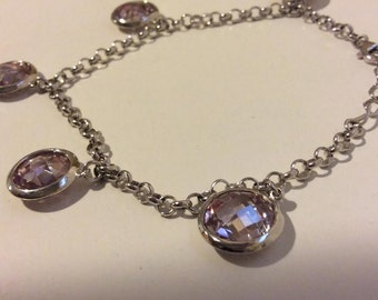 Sterling silver lavender clear faceted stone drop bracelet