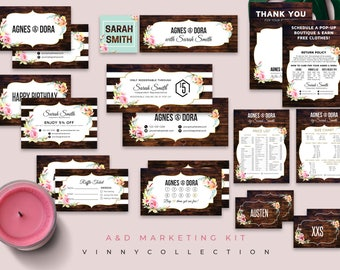 Agnes&Dora Marketing Kit, 14 Items Package, Wooden Background, Thanks Card Business Card Certificate, Small Business Starter Pack Set V25X08