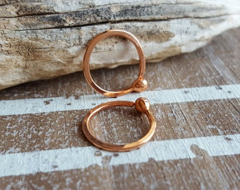 Handmade 18 gauge Copper Ball Hoop Earrings, Closed, Hammered Artisan Jewelry, Choice of Size and Finish