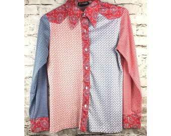 Vintage RUSS Women's Long Sleeve Blouse Top Cowboy Print Red White Blue Fourth of July Cowgirl S/M