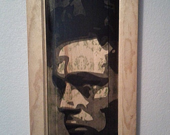 James Dean Multilayer Graffiti Stencil Art on Wood