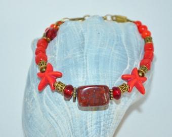 Bracelet Red Star Fish, Red Stone Bracelet, Star Fish Bracelet, Beachy Star Fish Bracelet, Star Fish Bead Bracelet, Beachy Star Fish Jewelry