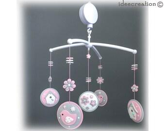 Mobile Bébé, mobile musical pour chambre d'enfant, modèle Oiseaux roses et gris