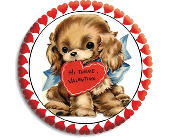 LIQUIDATION SALE! Valentine Puppy Love Pocket Mirror, Magnet or Pinback -  2.25""