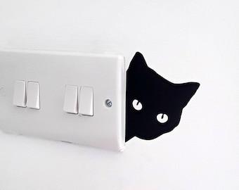 Peeping Cat Wall Art, Decal, Sticker - Cat Face