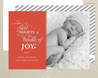 Newborn Photo Card - New Baby Photo Card - Christmas Card - Personalized - Photo Christmas Card - Digital or Printed
