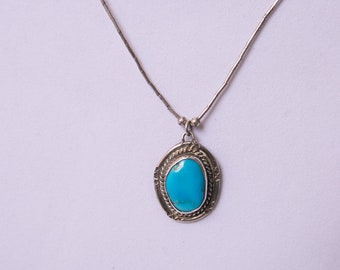 Turquoise and Sterling Silver 16 inch Necklace
