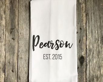 Custom Name Est. Tea Towel