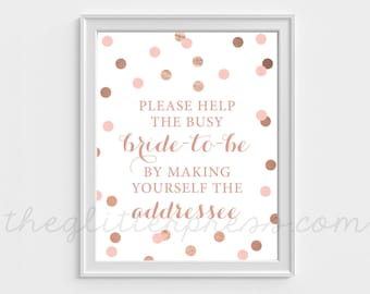 Please help the bride-to-be, make yourself the addressee sign, Rose Gold Confetti, Rose gold blush bridal shower, DIY, Instant Download, 005
