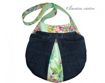 Denim shoulder bag and Amy Butler fabric