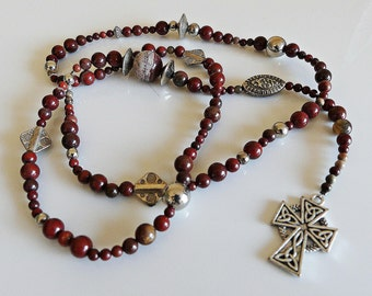 Jasper, Celtic, cross, long necklace, y-chain, long chain, pendant, gemstone chain, Jaspiskette