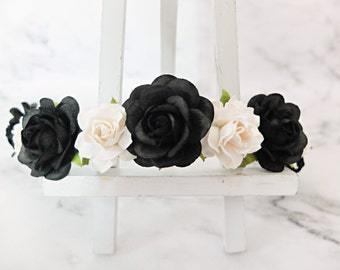 Black and white rose crown - floral hair wreath - flower headpiece - flower hair accessories