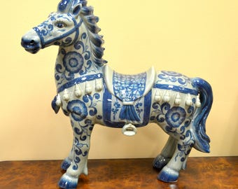 Gorgeous Ceramic Horse Statue-Blue And White