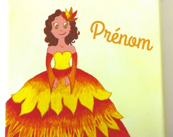 Frame / table girl: A custom painting with the name of your child (no charge).  The Princess of fire!