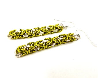 Sterling Silver and Green Chainmaille Dangle Earrings, Classic Byzantine Woven Jewelry