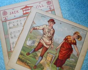 1877 Jack and Jill Lithograph Victorian Prints Walter Crane Baby's Opera