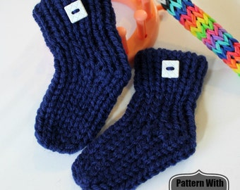 Loom Knitting Baby Booties Sock Pattern NO Holes NO Bulk on Flower Loom EASY